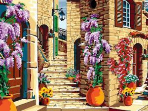 Фото Картины на холсте по номерам, Городской пейзаж Картина по номерам в коробке Babylon Старинная лестница  40x30см (VK 069)
