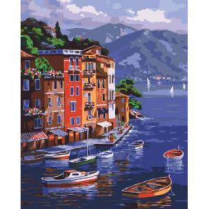 Фото Картины на холсте по номерам, Морской пейзаж Картина по номерам Идейка  На рассвете KH 2176  40х50см в коробке