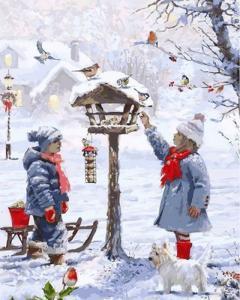 Фото Картины на холсте по номерам, Зима! Новый Год! Рождество! Картина по номерам в коробке Babylon Кормушка для птиц 40х50см (VP 1001)