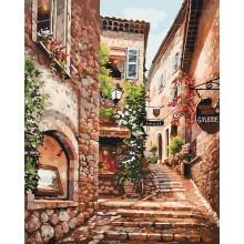 Фото Картины на холсте по номерам, Городской пейзаж Картина по номерам в коробке Идейка Солнечная улочка 40х50см (KH 2158)