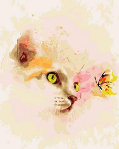 Фото Картины на холсте по номерам, Животные. Птицы. Рыбы... KGX 9058 Кошка и бабочка Роспись по номерам на холсте 40х50см