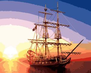 Фото Картины на холсте по номерам, Морской пейзаж Картина по номерам  Paintboy  На рейде  KGX 32375 40х50см в коробке