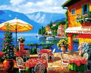 Фото Картины на холсте по номерам, Морской пейзаж Картина по номерам Babylon  Кафе на озере  VP 1295  40х50см в коробке