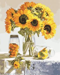 Фото Картины на холсте по номерам, Букеты, Цветы, Натюрморты AS 0847 Натюрморт с подсолнухами по номерам на холсте Art Story 40x50см