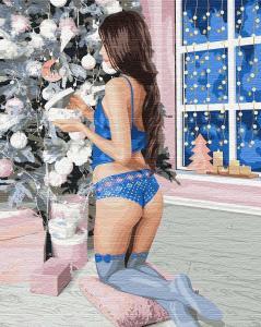 Фото Картины на холсте по номерам, Картины  в пакете (без коробки) 50х40см; 40х40см; 40х30см, Романтические картины. Люди. KHO 4773 Открывая подарки Картина по номерам на холсте (без коробки) 50х40см