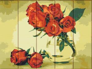 Фото  ASW 126 Красные розы Картина по номерам на дереве 30х40 см