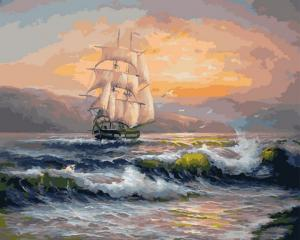 Фото Картины на холсте по номерам, Картины  в пакете (без коробки) 50х40см; 40х40см; 40х30см, Пейзаж, морской пейзаж. GX 21652 Корабль на волнах Картина по номерам на холсте 40х50см, без коробки