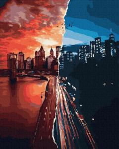 Фото Картины на холсте по номерам, Городской пейзаж Картина по номерам в коробке Paintboy  Закат и рассвет  40х50см (KGX 31036)