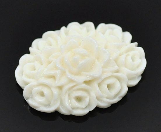 Фото Серединки ,кабашоны, Кабашоны, камеи Кабашон  18 * 13 мм.  акриловый  в  Молочных  розах.