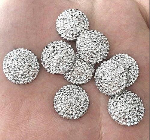 Фото Новинки Кабашон  пластиковый  16 мм. ( выпуклый )  с  Серебряной  минеральной  поверхностью .