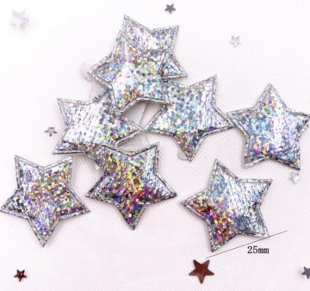 Фото Новинки Звёздочка 25 мм. Тканевая . Серебряного цвета с блестящим Радужным покрытием * Хамелион * .
