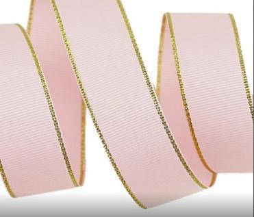 Фото Ленты, Репсовая  лента  с  люрексом. Репсовая  лента  2,5 см.  Розовая  с  золотым  люрексом.