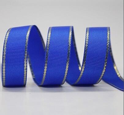 Фото Ленты, Репсовая  лента  с  люрексом. Репсовая  лента  2,5 см.   Синяя  с  золотым  люрексом.