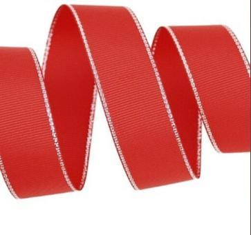 Фото Ленты, Репсовая  лента  с  люрексом. Репсовая  лента  2,5 см.  (  Остаток  , упаковка  1 м. 57 см. )   Красная  с  серебряным  люрексом.