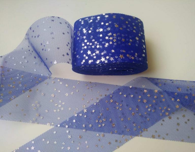 Фото Фатин ,регилин ,лазерная лента Фатин ширина 6 см. Синего цвета с Серебряными блестящими звёздочками .