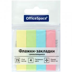 Фото Бумажная продукция (ЦЕНЫ БЕЗ НДС), Бумага для заметок, закладки (стикеры) Флажки-закладки OfficeSpace, 50*12мм, 25л*4 пастельных цвета, бумажные, европодвес