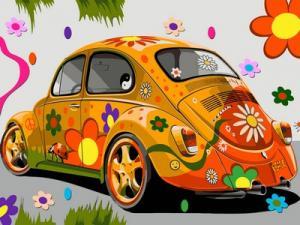 Фото Картины на холсте по номерам, Экспрессионизм, Модернизм, Абстракционизм, Авангард, Примитивизм и т.д. Картина по номерам в коробке Babylon Назад в 60-е (оранжевая машина) 40x30см (VK 172)