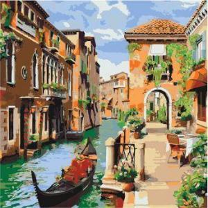 Фото Картины на холсте по номерам, Городской пейзаж Картина по номерам в коробке Идейка Венецианское утро  40х40см (KH 2161)