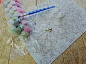 Фото  ASW 080 Пионы на столе Картина по номерам на дереве 30х40 см