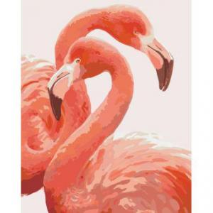 Фото Картины на холсте по номерам, Животные. Птицы. Рыбы... Картина по номерам в коробке Идейка Грация фламинго 40х50см (KH 2446)