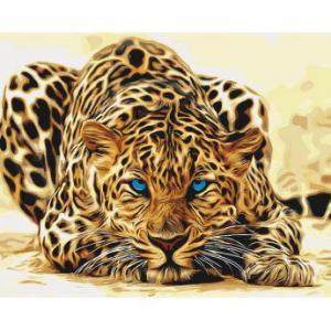 Фото Картины на холсте по номерам, Животные. Птицы. Рыбы... Картина по номерам в коробке Идейка Дикая кошка 40х50см (KH 2450)