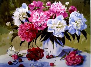 Фото Картины на холсте по номерам, Букеты, Цветы, Натюрморты Картина по номерам в коробке Paintboy Пионы и черешня 40х50см (KGX 24631)