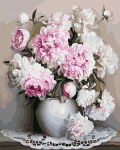 Фото Картины на холсте по номерам, Букеты, Цветы, Натюрморты Картина по номерам в коробке Paintboy Пышные пионы 40х50см (KGX 22265)