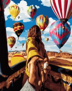 Фото Картины на холсте по номерам, Романтические картины. Люди Картина по номерам в коробке Paintboy Следуй за мной. Воздушные шары 40х50см  (KGX 24420)