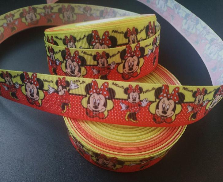 Фото Ленты, Лента репсовая с рисунком Репсовая лента 2,5 см. Жёлто - Красная с Микки .