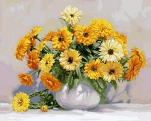 Фото Картины на холсте по номерам, Букеты, Цветы, Натюрморты Картина по номерам в коробке Babylon Желтые герберы 40х50см (VP 574)