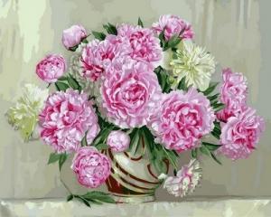 Фото Картины на холсте по номерам, Букеты, Цветы, Натюрморты Картина по номерам в коробке Babylon Розовые пионы 40х50см (VP 573)