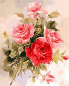 Фото Картины на холсте по номерам, Букеты, Цветы, Натюрморты Картина по номерам в коробке Babylon Великолепные розы 40х50см (VP 587)