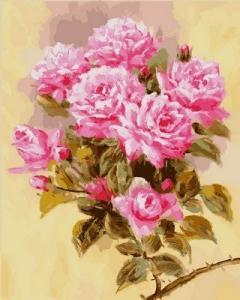 Фото Картины на холсте по номерам, Букеты, Цветы, Натюрморты Картина по номерам в коробке Babylon Розовая ветвь 40х50см (VP 588)