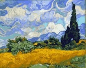 Фото Картины на холсте по номерам, Картины великих художников Картина по номерам в коробке Babylon Пшеничное поле с кипарисами. Ван Гог 40х50см (VP 594)
