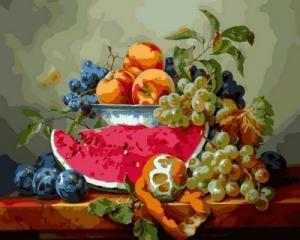 Фото Картины на холсте по номерам, Букеты, Цветы, Натюрморты Картина по номерам в коробке Babylon Натюрморт с арбузом и виноградом 40х50см (VP 597)