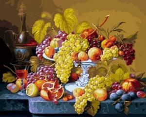 Фото Картины на холсте по номерам, Букеты, Цветы, Натюрморты Картина по номерам в коробке Babylon Роскошный виноград 40х50см (VP 598)