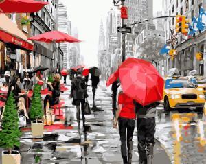 Фото Картины на холсте по номерам, Городской пейзаж Картина по номерам без коробки Paintboy Дождь в Нью-Йорке 40х50см (GX 8091)