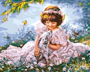 Фото Картины на холсте по номерам, Дети на картине GX 8553 Девочка с далматинцем Роспись по номерам на холсте 40х50см без коробки, в пакете