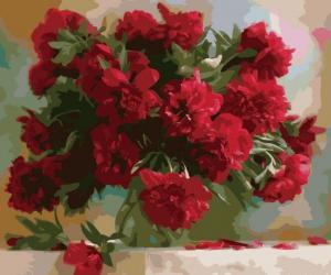 Фото Картины на холсте по номерам, Букеты, Цветы, Натюрморты Картина по номерам в коробке Идейка Красные пионы 40х50см (KH 1133)