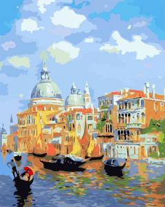 Фото Картины на холсте по номерам, Городской пейзаж Картина по номерам в коробке Babylon  Лазурь Венеции MS 411 40х50см