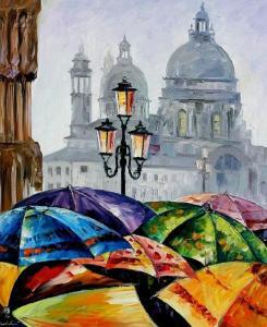 Фото Картины на холсте по номерам, Городской пейзаж Картина по номерам без коробки Идейка Зонтики 40х50см (KHO 2136)