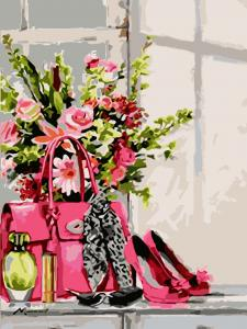 Фото Картины на холсте по номерам, Картины  в пакете (без коробки) 50х40см; 40х40см; 40х30см, Цветы, букеты, натюрморты Картина по номерам без коробки Идейка Стильная штучка 40х50см (KHO 2050)