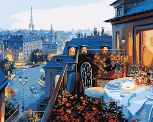 Фото Картины на холсте по номерам, Городской пейзаж Картина по номерам без коробки Идейка Вид на Париж 40х50см (KHO 1107)