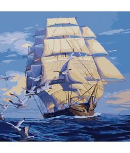 Фото Картины на холсте по номерам, Картины  в пакете (без коробки) 50х40см; 40х40см; 40х30см, Пейзаж, морской пейзаж. Картина по номерам без коробки Идейка На всех парусах 40х40см (KHO 2708)