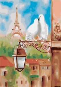Фото Картины на холсте по номерам, Городской пейзаж Картина по номерам без коробки Идейка Весна в Париже 35х50см (KHO 2128)