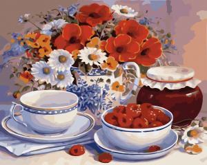 Фото Картины на холсте по номерам, Букеты, Цветы, Натюрморты Картина по номерам в коробке Идейка Приглашение на чай 40х50см (KH 2029)