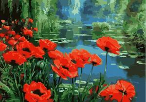Фото Картины на холсте по номерам, Букеты, Цветы, Натюрморты Картина по номерам в коробке Идейка Маки возле озера 40х50см (KH 2056)