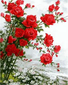Фото Картины на холсте по номерам, Букеты, Цветы, Натюрморты Картина по но мерам в коробке Babylon Розы на ромашковом поле 40х50см (VP 610)