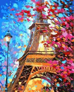 Фото Картины на холсте по номерам, Городской пейзаж Картина по номерам в коробке Babylon  Краски весеннего Парижа  VP 612 40х50см