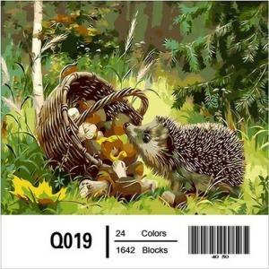 Фото Картины на холсте по номерам, Животные. Птицы. Рыбы... Картина по номерам в коробке  Mariposa Любопытный ёжик 40х50см (Q019)